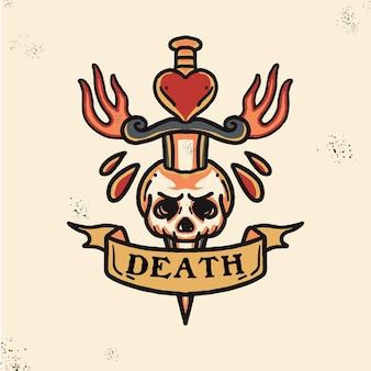 Crâne avec épée illustration de tatouage old school