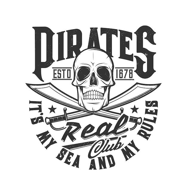 Crâne et épées de pirate, drapeau squelette de tête du club