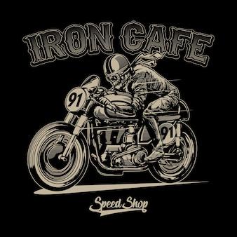 Crâne équitation moto vintage