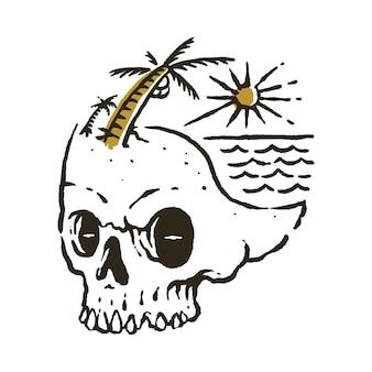 Crâne, été, plage, illustration