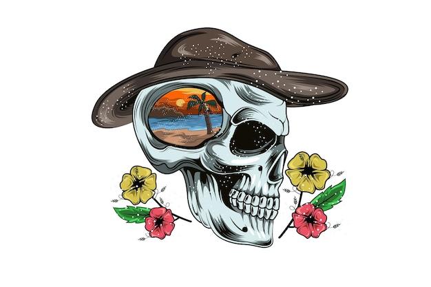 Crâne été portant casquette et plage main dessin illustration
