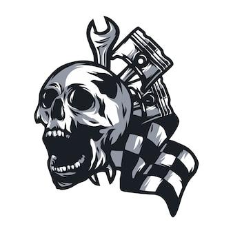 Crâne fantôme rider route vecteur logo design illustration