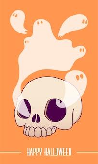 Un crâne, les fantômes volent hors des orbites