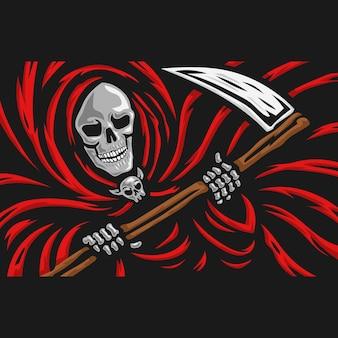Crâne de faucheuse avec le logo de la faucille.