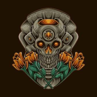 Crâne fleur robotique