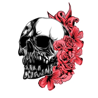 Crâne avec fleur