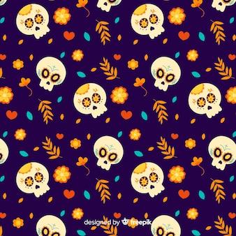 Crâne avec des fleurs pour día de muertos pattern