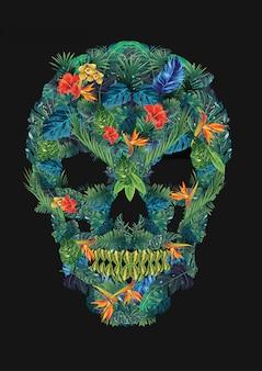 Crâne floral sur noir