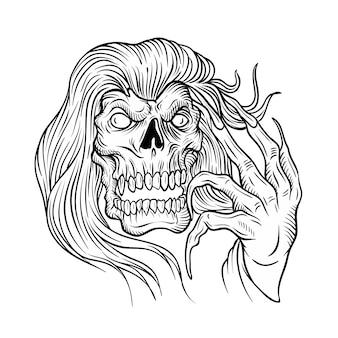 Crâne sur fond blanc et dessin isolé facile à modifier
