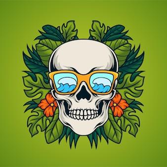 Crâne avec fond de feuille tropicale