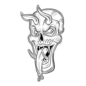 Crâne sur fond noir sur blanc, dessin à la main, isolé, facile à modifier
