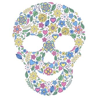 Crâne foral sur fond blanc.