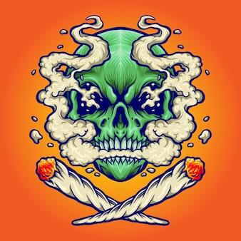 Crâne fumant une marijuana illustrations vectorielles pour votre travail logo, t-shirt de mascotte, autocollants et conceptions d'étiquettes, affiche, cartes de voeux faisant la publicité d'une entreprise ou de marques.
