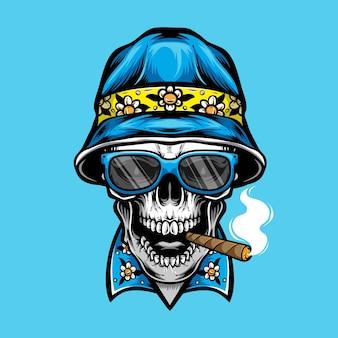 Crâne de fumer portant un chapeau de seau