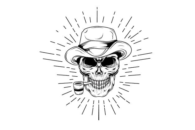 Crâne de fumeur dessiné à la main