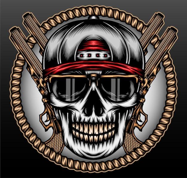 Crâne de gangsta hip hop isolé sur noir