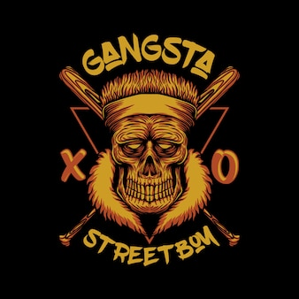 Crâne gangsta rue garçon illustration