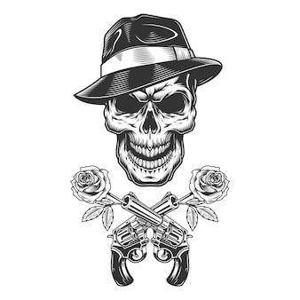 Crâne de gangster monochrome vintage