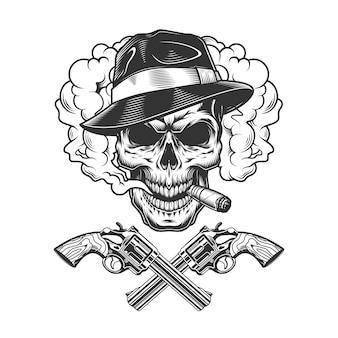 Crâne de gangster portant un chapeau fedora