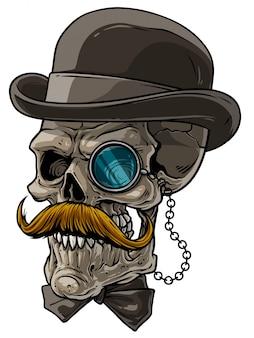 Crâne de gentilhomme de bande dessinée avec chapeau noir et monocle