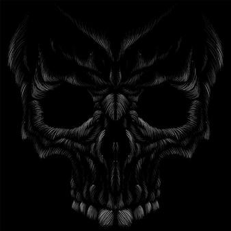 Le crâne de gravure noir