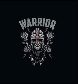 Crâne de guerrier, conception graphique de t-shirt, style de ligne dessiné à la main avec couleur numérique