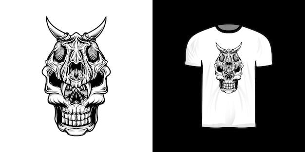 Crâne guerrier ligne art illustration avec casque de crâne de lion avec coloration rétro pour la conception de t-shirt