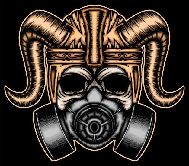 Crâne de guerrier avec masque à gaz.