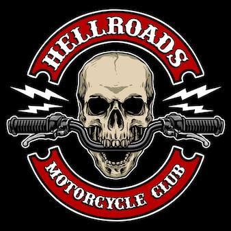 Crâne avec guidon de moto, approprié pour logo de club de moto