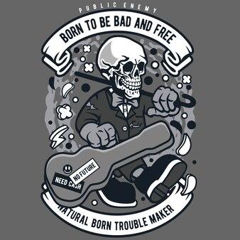 Crâne guitare dessin animé