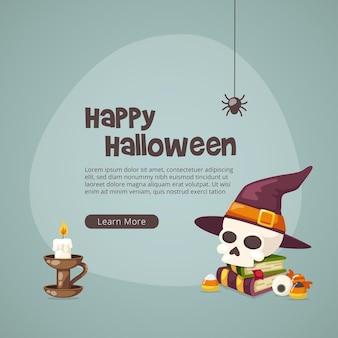 Crâne d'halloween avec la conception de chapeau de sorcière