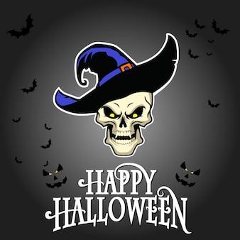 Crâne d'halloween heureux avec un chapeau de sorcière
