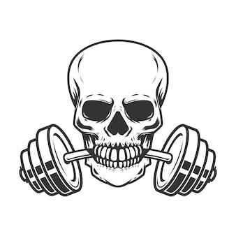 Crâne avec haltères dans les dents.