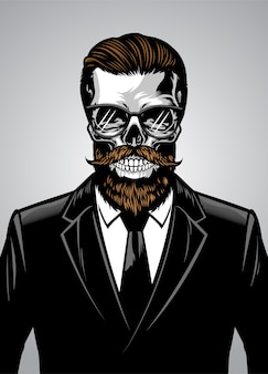Crâne de hipster barbu portant costume