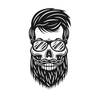 Crâne de hipster avec illustration de barbe et lunettes de soleil