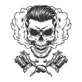 Crâne de hipster monochrome dans un nuage de fumée