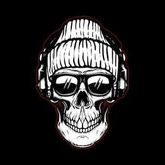 Crâne de hipster vintage dans des lunettes de soleil et des écouteurs.