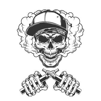 Crâne de hipster vintage dans un nuage de fumée