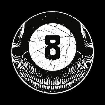 Crâne horreur huit ball illustration art design