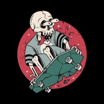Crâne horreur jouant à la planche à roulettes illustration graphique art design de tshirt