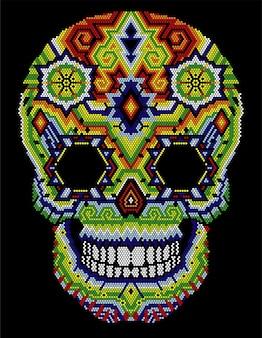 Crâne huichol aztèque