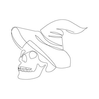 Crâne humain avec un chapeau de sorcière un dessin au trait ligne continue de sorcellerie mystique thème halloween