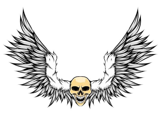 Le crâne humain coloré avec la fourrure et les ailes de plumes