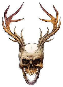 Crâne humain coloré graphique avec cornes de cerf