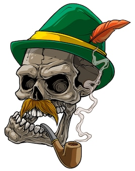 Crâne humain de dessin animé au chapeau traditionnel bavarois