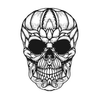 Crâne humain dessiné à la main fait des formes florales.
