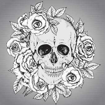 Crâne humain dessiné à la main avec des fleurs roses