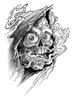Crâne humain détaillé avec de grands yeux et bouche ouverte dans la vieille cape. isolé