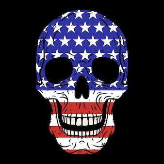 Crâne humain avec drapeau américain isolé