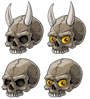 Crâne humain effrayant de dessin animé réaliste avec des cornes